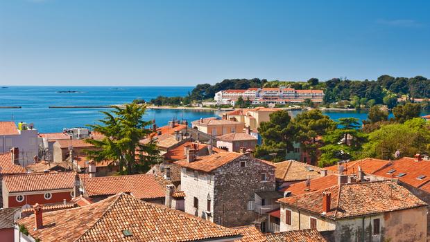 Adriatic sea coast of old Croatian town Porech. High angle view. Istria province of Croatia.