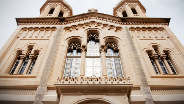 Front of catholic cathedral in Dubrovnik, Croatia