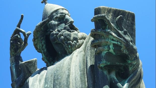 Famous bronze statue of bishop in Croatia, Europe