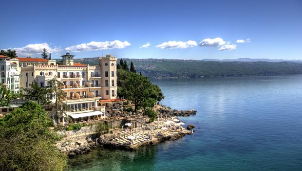 Hotel in Opatija, Croatia, on a beautiful summer day.