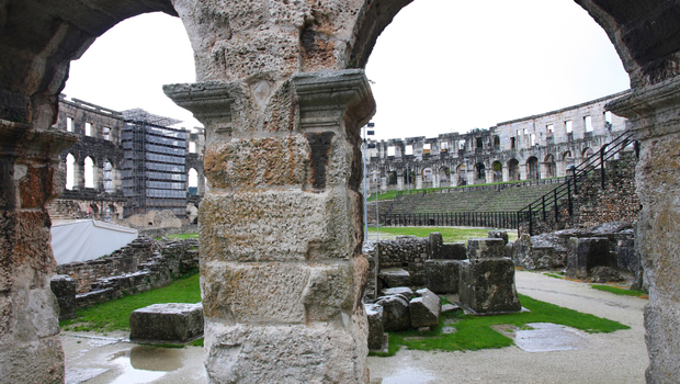 The inside of the ruins of the coloseum in Pula, Croatia