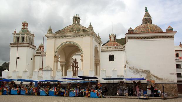 Square near the church in Copacobana, Bolivia