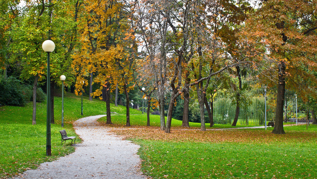 Zagreb autumn colorful park walkway, Croatia