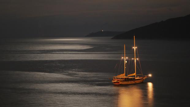 luxury turist boat ship  at sea on summer vacation