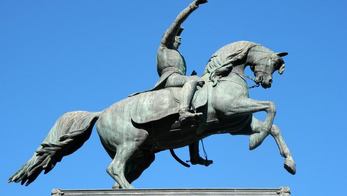 General San Martin monument at Plaza Libertad, Cordoba, Argentina.