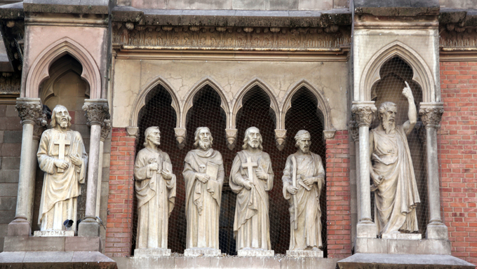 Statues on facade of cathedral in Cordoba, Argentina