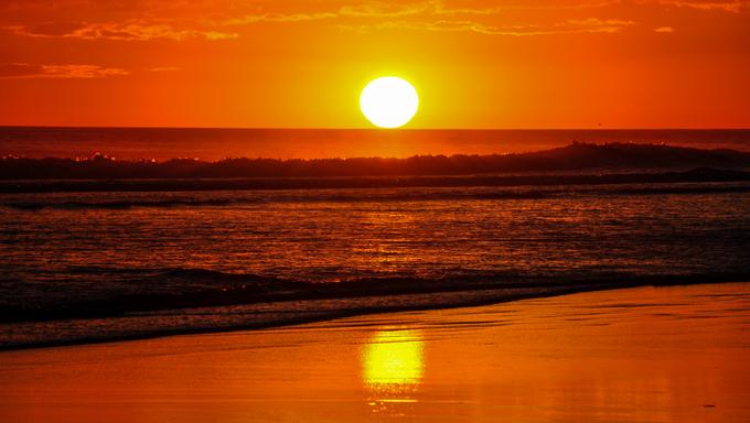 Beautiful sunset at Playa El Cuco, El Salvador.