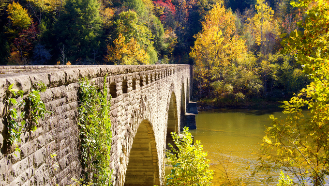 Stone-clad bridge across the Cumberland River in Kentucky
