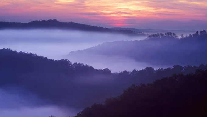 Sunrise showing the layed mountains off Auxier Ridge.  Red River Gorge area of the Daniel Boone National Forest in Kentucky, United States