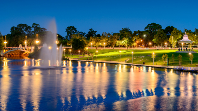 Night view of River Torrens and Fountain in Elder Park. Long exposure effect