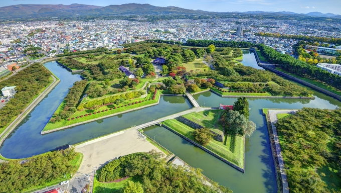 Goryokaku Park in Hakodate, Hokkaido, Japan was originally a star fort designed in 1855.