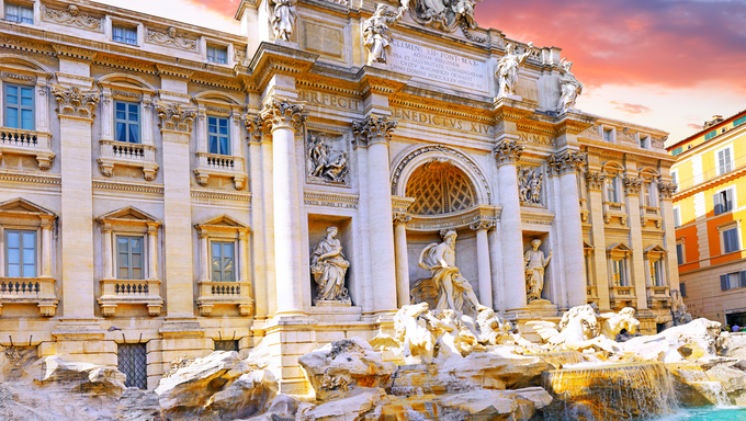 Fountain di Trevi is most famous Rome's fountains in the world.