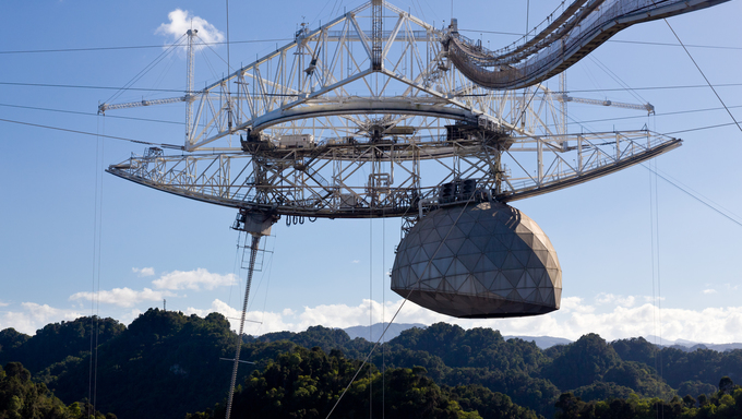Close up of antennae in the Arecibo Observatory in Puerto Rico.