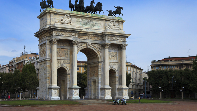 Arch of Peace in Sempione Park, Milan, Italy.