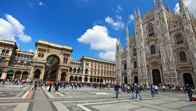 A daytime shot of the Cathedral and square in Milan, Italy.