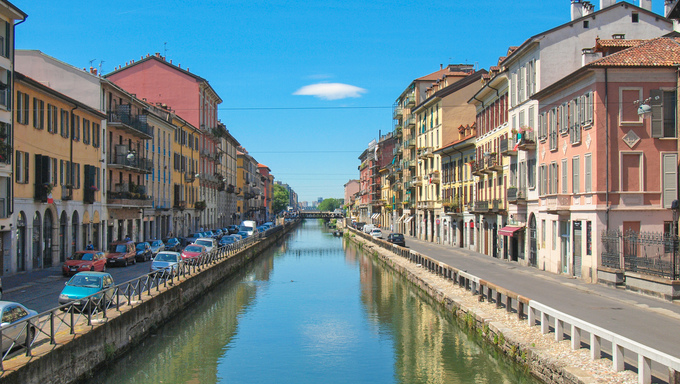 Naviglio Grande, canal waterway in Milan, Italy.