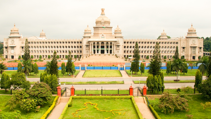 The majestic Vidhana Soudha, the state legislature building in Bangalore, India