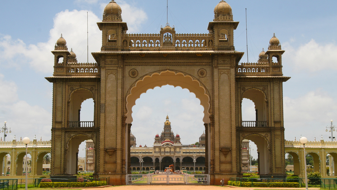 Palace of Mysore in India. This building was created more than 100 years ago, no property release is required.