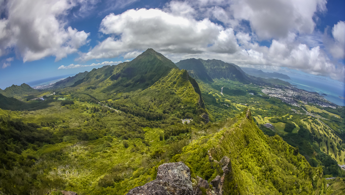 Aerial view of the mountains and hills of Honolulu.