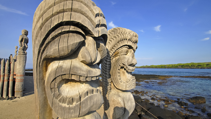 Giant carved totems in Hawaii.