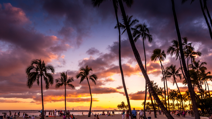 Waikiki Beach at sunset.