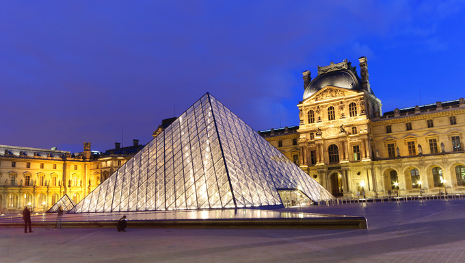 "Louvre Palace at dusk in Paris, World Heritage Site""Banks of the Seine."""
