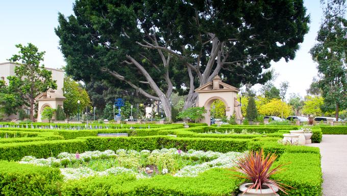 Alcazar Gardens in Balboa Park, San Diego, California.