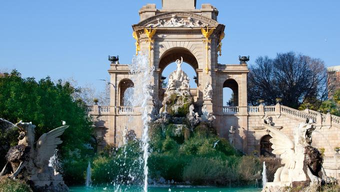 Barcelona Ciudadela park lake fountain with golden Quadriga of Aurora.