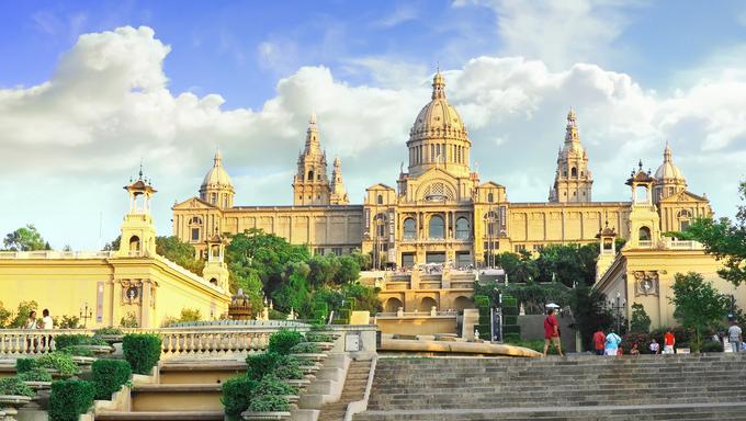 Placa De Espanya, the National Museum in Barcelona, Spain.