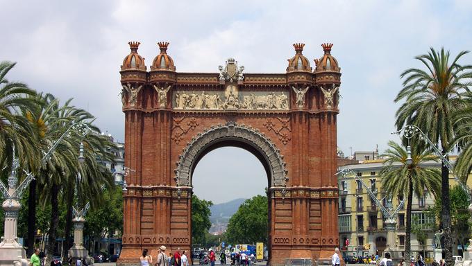 The Triumph Arch (Arc de Triomf) in Barcelona, Spain.