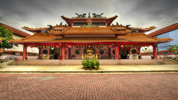 Chinese Taoist Temple Paved Main Square in Singapore