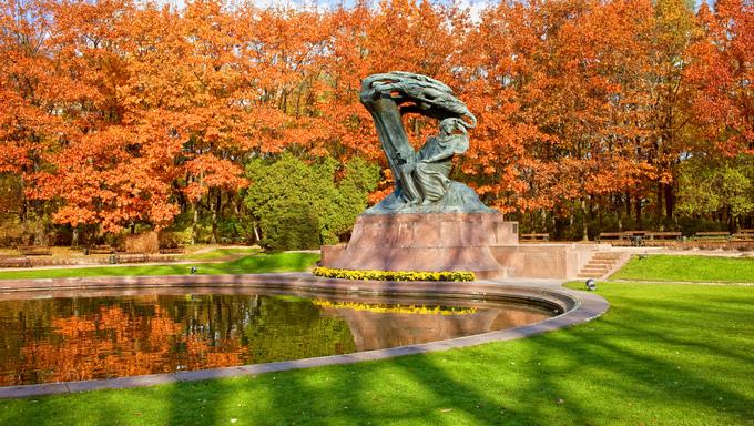 Friderick Chopin monument in the Lazienki Park in Warsaw, Poland