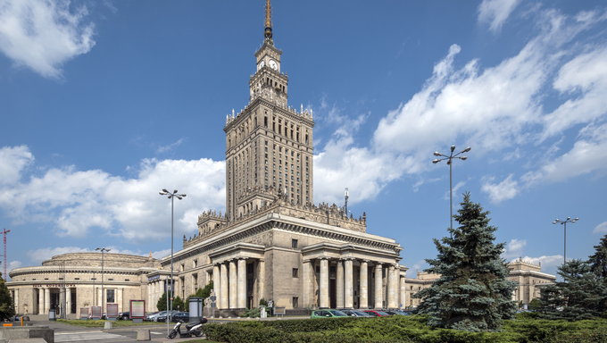 One of the highest building of Europe - Palace of Culture and Science in Warsaw, Poland