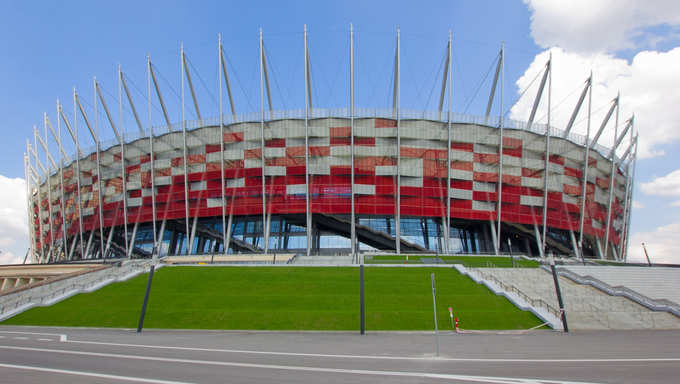 Outdoors of euro 2012 stadium, Warsaw, Poland