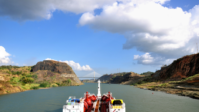 The Panama Canal from a boats point of view.
