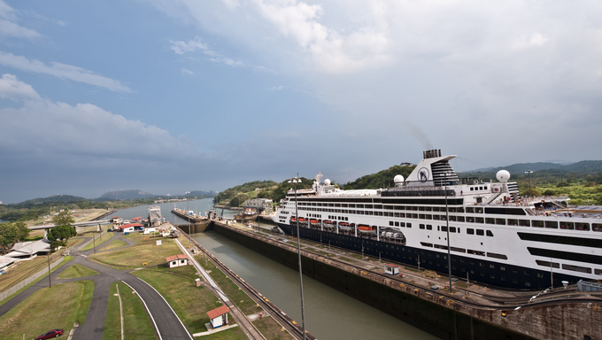 Ship in Miraflores locks in Panama Canal.