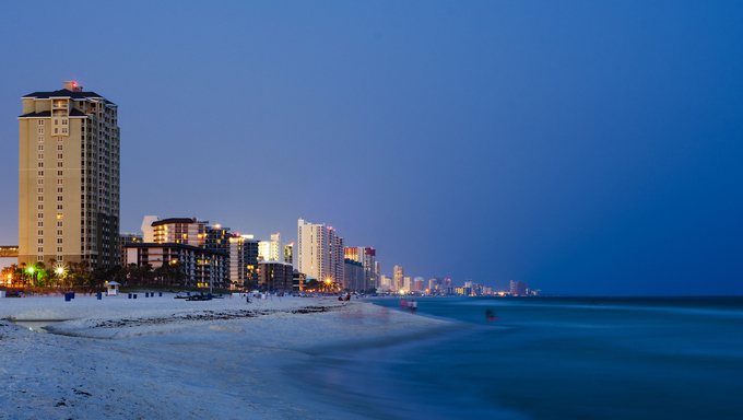 Panama Beach cityscape at night.