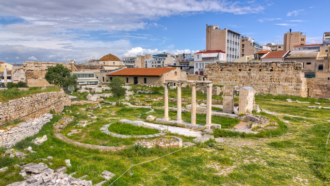 View of Ancient Agora of Athens, Greece.