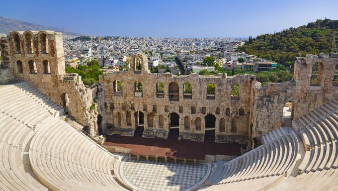 The Odeon theatre at Athens, Greece. View from Acropolis.