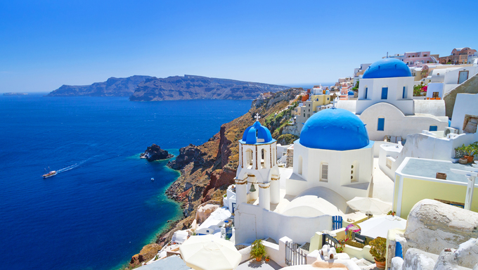 Architecture of Oia village on Santorini Island in Greece.