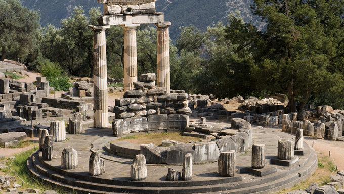 Tholos at the sanctuary of Athena Pronaia, Delphi, Greece.