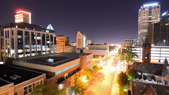 Nighttime view of downtown Birmingham, Alabama, USA