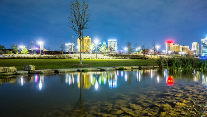 Skyline of Birmingham Alabama from Railroad Park