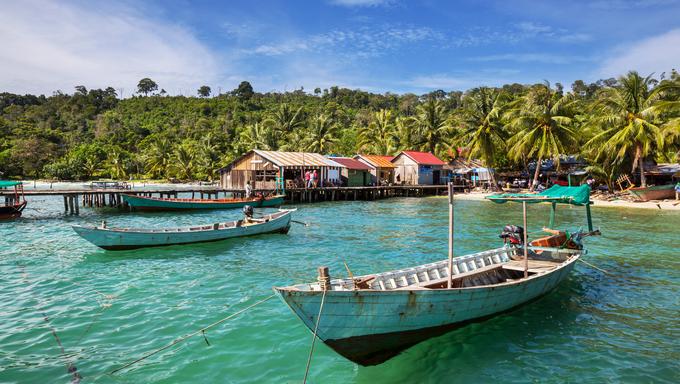 Fishing boats in Kep, Cambodia.