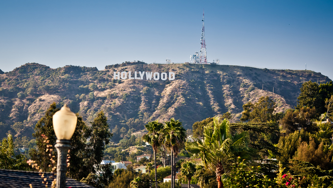 View of Hollywood sign in Los Angeles, California. Sign is located in the Hollywood hills area of Mount Lee, built in 1923.