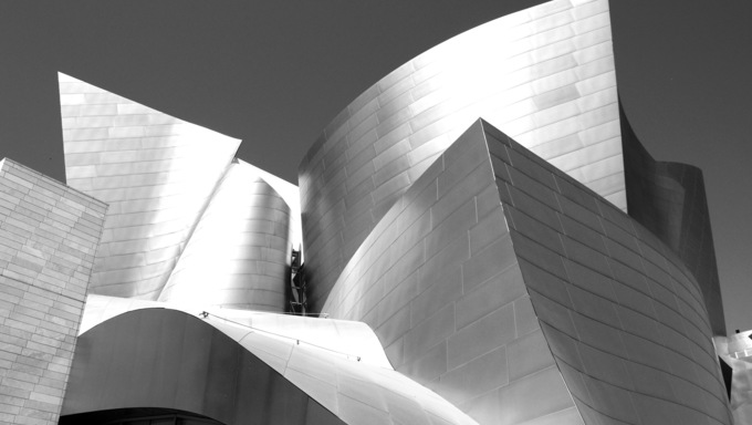 Walt Disney Concert Hall in Los Angeles, CA. The Frank Gehry- designed building opened on October 24, 2003.