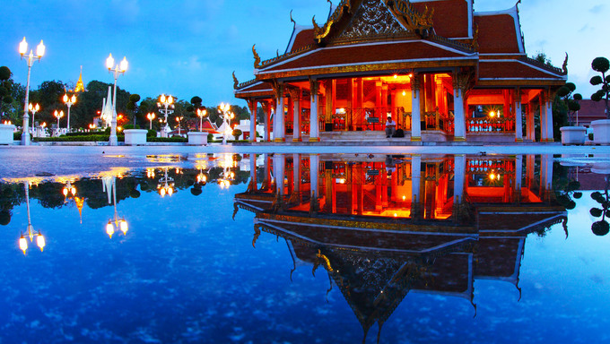 Marble temple at twilight with reflection in a water