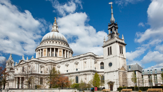 St. Paul Cathedral with garden in London England United Kingdom.