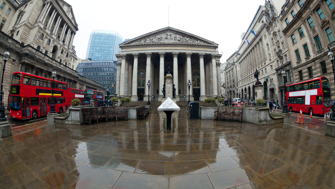 View of British financial heart, Bank of England and Royal Exchange.