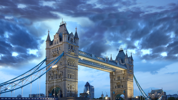 Famous Tower Bridge in the evening, London, England.